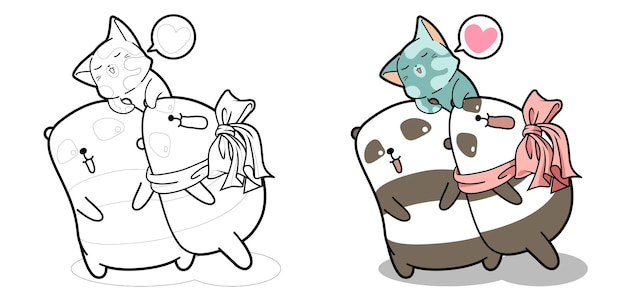 Pandas and cat with good friendship cartoon coloring page for kids