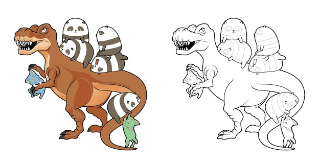 Pandas and cats with dinosour cartoon coloring page