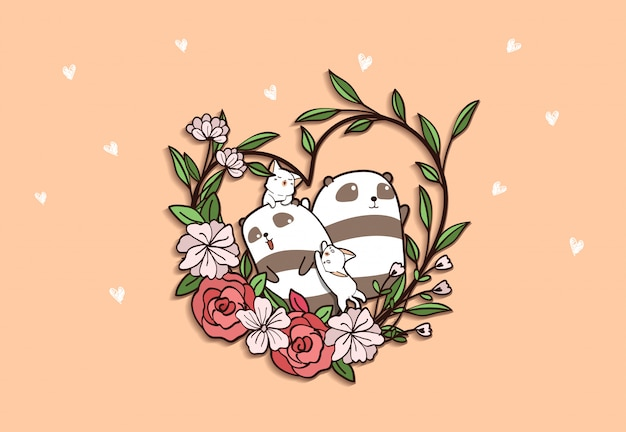 Pandas and cats with heart flower on pink background