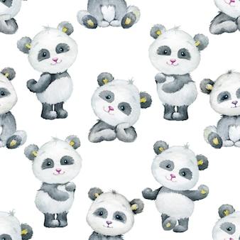 Pandas. cute, animals, in a cartoon style. watercolor seamless pattern.