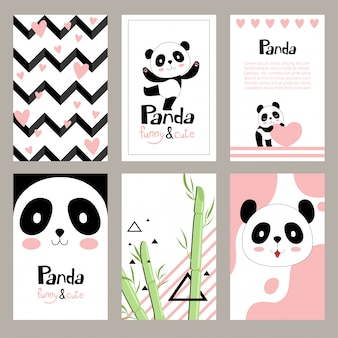 Pandas invitation cards. newborn cute animals of chinese bear holiday  placard  templates for kids