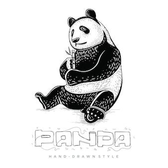 팬더 앉아서 대나무, 손으로 그린 동물 삽화를 먹는다.