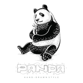 Pandas sit and eat bamboo, hand drawn animal illustrations
