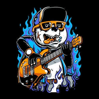 Pandas wearing hats playing guitar