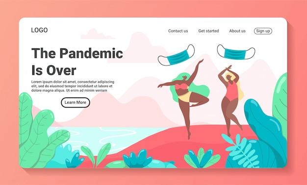 パンデミックcovid-19エンドコンセプトのランディングページテンプレート。検疫とコロナウイルスのロックダウン仕上げのアイデア。ビーチで水着に身を包んだ幸せなフラット漫画の女の子キャラクターは、マスクを投げてジャンプします。