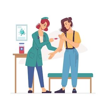 パンデミック感染は、インフルエンザやインフルエンザの看護師が女性に注射をすることによる治療を停止しますフラット漫画