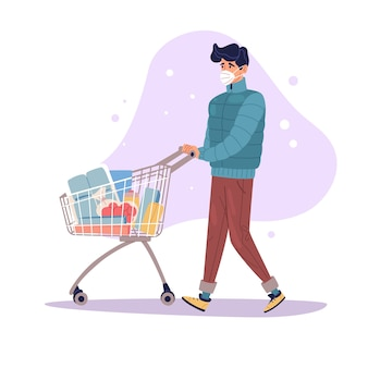Pandemic shopping illustration a guy is walking with a shopping cart full of groceries bacteria are flying around