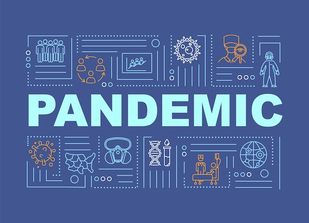 Pandemic word concepts banner. infected people on quarantine. virus outbreak hazard. infographics with linear icons on blue background. isolated typography. vector outline rgb color illustration