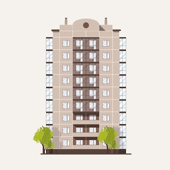 Многоэтажный панельный дом с балконами и парой растущих рядом деревьев