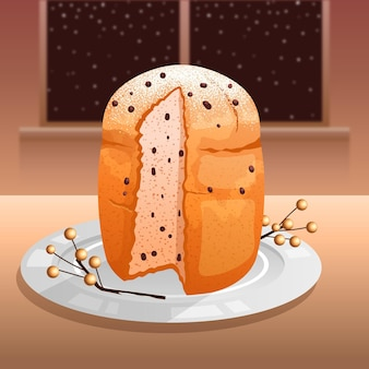Panettone on white plate illustrated