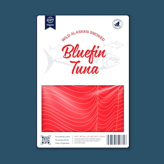 Pangasius flat style packaging design tuna illustration and fish meat texture for packaging