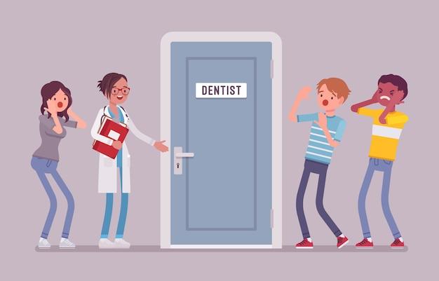 치과 의사 문에서 공황
