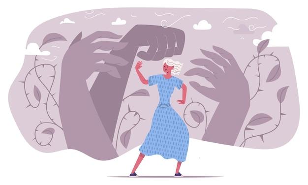 공황 발작, 두려워 겁 먹은 감정적 인 사람. 심리적 문제 벡터 삽화로 고통받는 불행한 여성을 강조했습니다. 불안 공포 개념