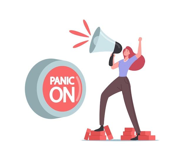 Концепция панической атаки. крошечный женский персонаж стоит на кирпичах, кричит в громкоговоритель при включенной огромной кнопке паники. психическое расстройство