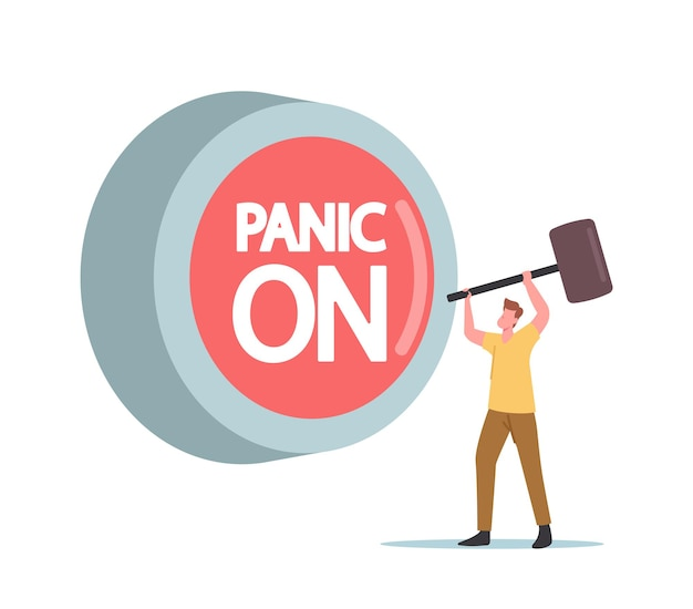 Концепция панической атаки. крошечный мужской персонаж с молотком ударил огромную красную кнопку паники. психическое расстройство, болезнь, тревога и разочарование, страх, хаос в сознании. мультфильм люди векторные иллюстрации