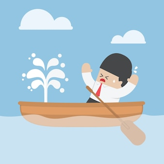Panic businessman with leaking boat