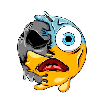 Panic face expression with blue head and big eyes changes to dark scary skull emoticon