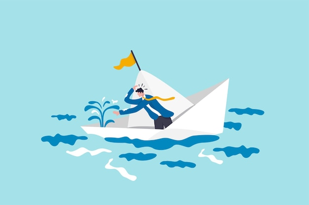 Panic or fear in business crisis situation, frustrated or helpless bankruptcy, trouble and problem or time running out concept, panic businessman frustrated fix leaking water in sinking boat or ship.