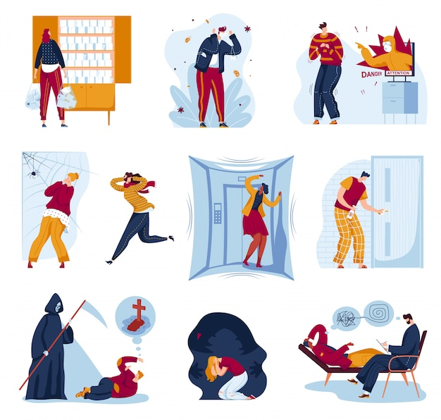Panic fear in people  illustration set, cartoon  man woman character afraid of spider in panic attack, panicking and running
