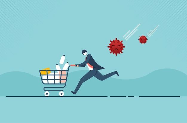 쇼핑 카트에 소비재 제품 약으로 가득 찬 공포에 질려 달리는 공황 남자 때문에