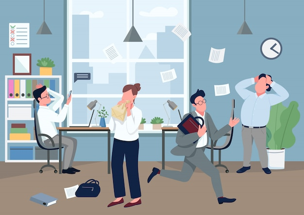 Panic in office flat color illustration