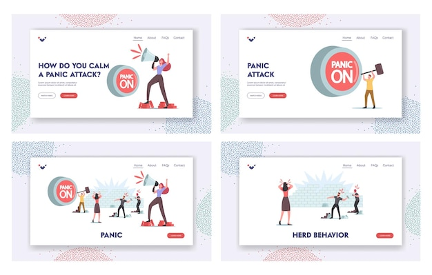Panic, violence, looting, aggressive behavior landing page template set. characters throw stones, woman yell to loudspeaker, huge red button on. damage, conflict. cartoon people vector illustration