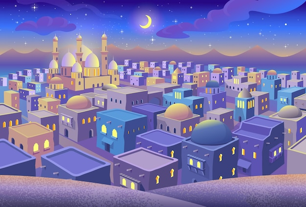 Panorama of ancient arab city with houses and the mosque at night blue city in cartoon style