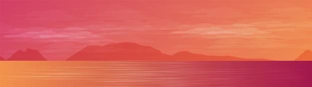 Панорама красивого моря на пейзажном фоне, солнце и закат концептуального дизайна