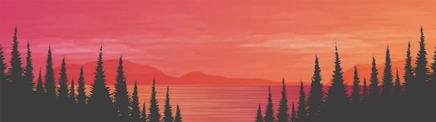 風景の背景、太陽と夕日のコンセプトデザインのパノラマ美しい海