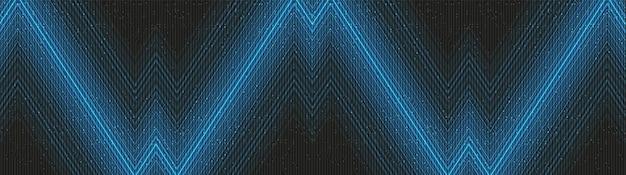 검은 배경의 파노라마 블루 라이트 기술, 하이테크 디지털 및 음파 컨셉 디자인, 텍스트를 위한 여유 공간, 벡터 일러스트레이션.