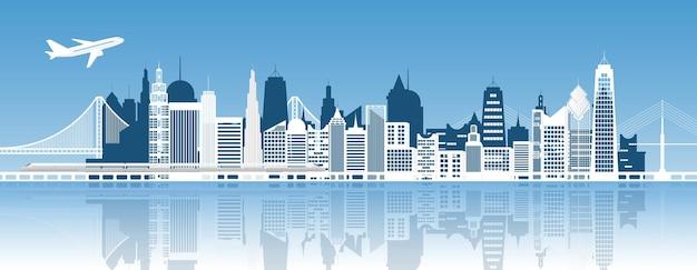 Панорама здания и города, городской городской пейзаж, векторные иллюстрации.
