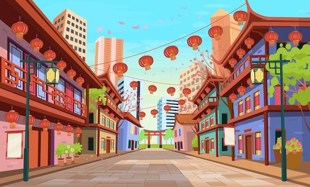 古い家屋の中国のアーチランタンと花輪のパノラマ中国の通り