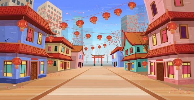 Panorama chinese street with old houses, chinese arch, lanterns and a garland. vector illustration of city street in cartoon style.