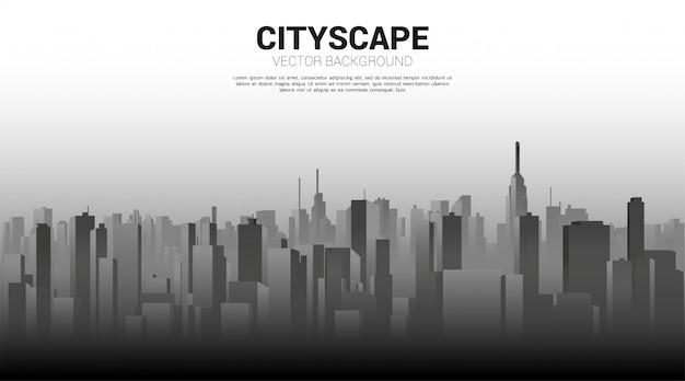 光と影のパノラマシティビルディングの背景。大都市と都市生活の背景。