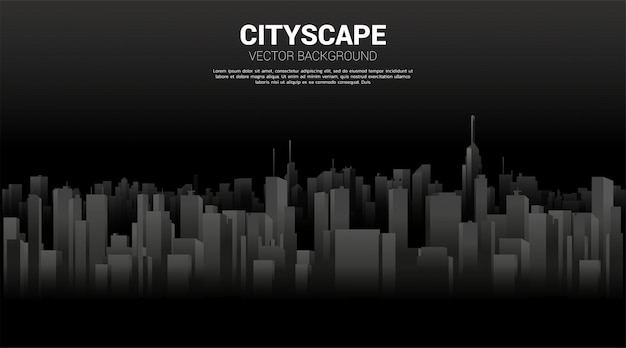 Panorama city building background with light and shadow. background for big city and urban life.