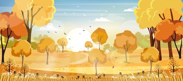 Panorama of countryside landscape in autumn, vector illustration of horizontal landscape, barn, mountains and maple leaves falling from the trees in yellow foliage. fall seasons