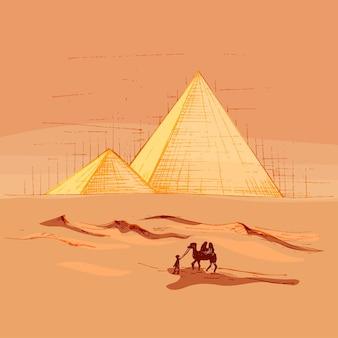 피라미드와 낙타가 있는 파노라마 사막. 벡터 빈티지 해칭