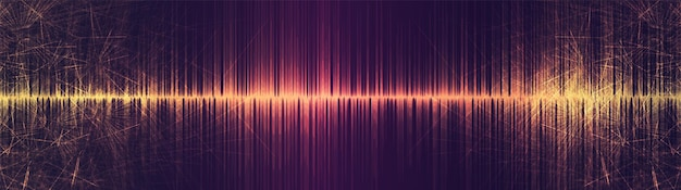 Panorama golden sci fi equalizer sound wave on technology background,earthquake wave diagram concept,design for music studio and science,vector illustration.