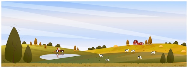 Panorama illustration of countryside landscape in autumn