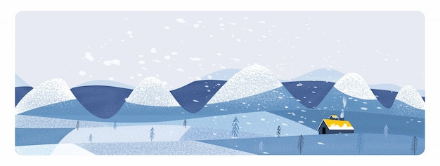 Panorama  illustration of countryside landscape in winter. banner of free form  farm landscape in winter.