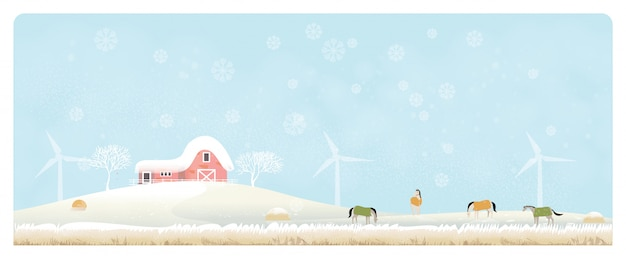 Panorama illustration of countryside landscape in winter
