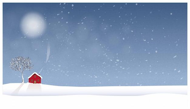 冬の田舎の風景のパノラマイラスト。