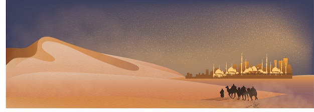 Panorama landscape of arabian journey with camels through the desert with mosque, sand dune and dust