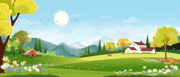Панорамный пейзаж весенней деревни с зелёным лугом на холмах и пейзажами голубого неба, панорамный пейзаж зелёного поля с фермерским домом, сараем и цветами из травы