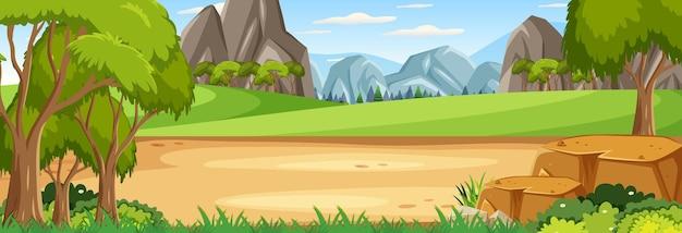 空白の牧草地のパノラマ風景シーン
