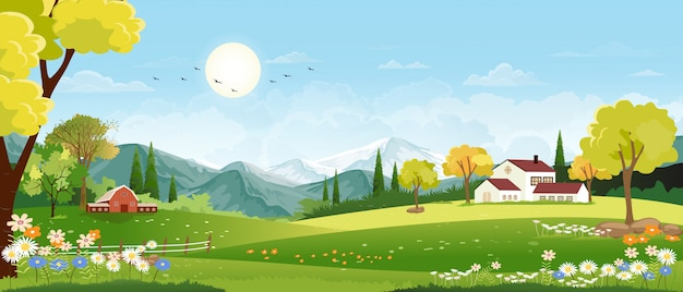 Panorama landscape of spring village with green meadow on hills and blue sky landscape, panoramic countryside of green field with farmhouse, barn and grass flowers