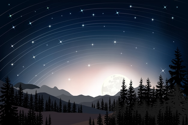 Panorama landscape of starry night with full behind mountain and pine trees