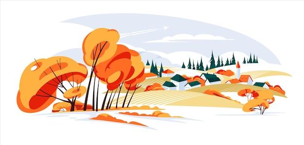 가을 시골의 파노라마 풍경 농장 필드 언덕 가톨릭과 중반 가을 파노라마