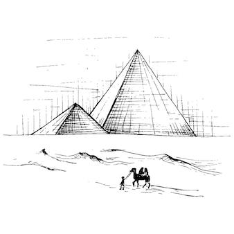 파노라마 첨탑과 낙타가 있는 일몰 하늘. 벡터 빈티지 해칭 검은 그림입니다. 손으로 그린 디자인