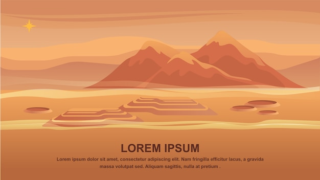 Panorama mountain landscape red planet surface.
